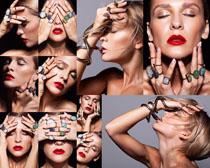 口红美容肌肤女子摄影高清图片