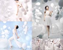 模特美女与气球摄影高清图片