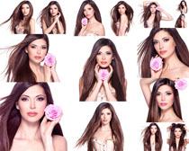 玫瑰与直发美女摄影高清图片