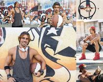 涂鸦篮球男人摄影高清图片