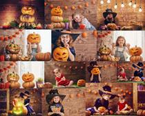 万圣节南瓜与儿童摄影高清图片