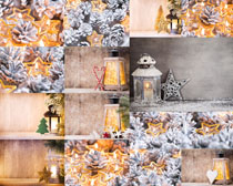 圣诞节油灯花朵拍摄高清图片