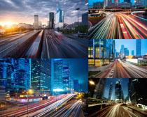 夜景城市道路摄影高清图片