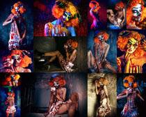 小丑女性打扮摄影高清图片