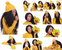 树叶与黑女人摄影高清图片