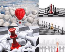 棋子与气球摄影高清图片