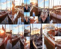 海岸渔船摄影高清图片