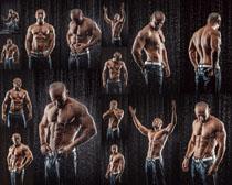 淋雨的肌肉男人摄影高清图片