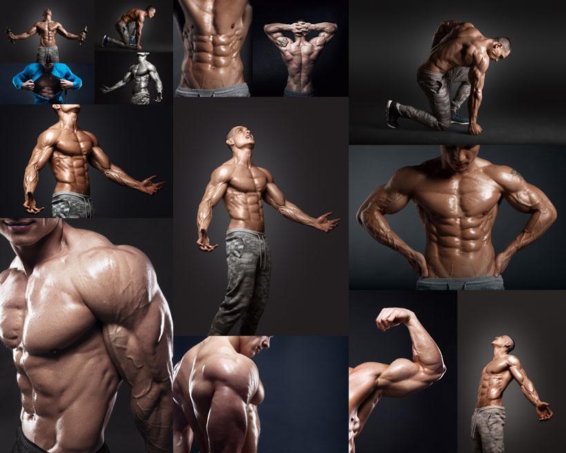 肌肉男人展示摄影高清图片