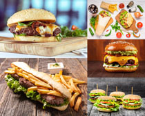 薯条汉堡包食物摄影高清图片