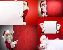 圣诞老人与广告牌摄影高清图片
