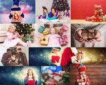 圣诞节礼物与人物拍摄高清图片