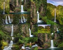 山峰瀑布摄影高清图片