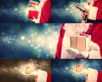 圣诞老人与礼物摄影高清图片