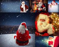 圣诞老人与小孩摄影高清图片
