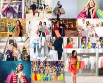 购物女子手提袋拍摄高清图片