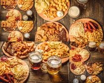 薯条火腿啤酒摄影高清图片