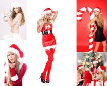 圣诞服装美女摄影高清图片