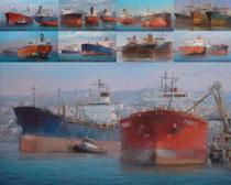 轮船水墨画摄影高清图片