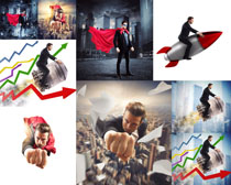商务超人火箭摄影高清图片