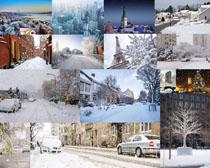 城市雪景拍摄高清图片