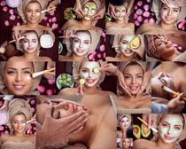 面膜护理的女子摄影高清图片