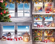 圣诞节窗户装饰摄影高清图片