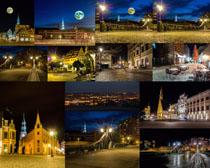 城市灯光夜景摄影高清图片
