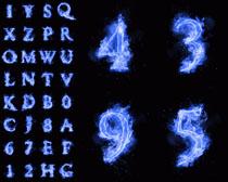 蓝色火焰字母数字摄影高清图片