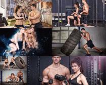 練習力量的男女攝影高清圖片