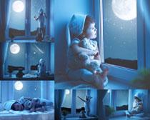 夜空窗台下的小孩摄影高清图片