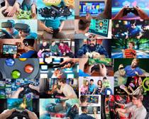 玩游戏机的人物摄影高清图片
