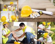 建筑工人受伤摄影高清图片