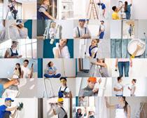 开心的装修工人拍摄高清图片