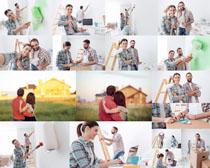 粉墙的夫妻拍摄高清图片
