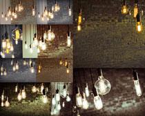 墻壁與燈泡攝影高清圖片