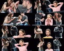 吵架的家庭与小孩摄影高清图片
