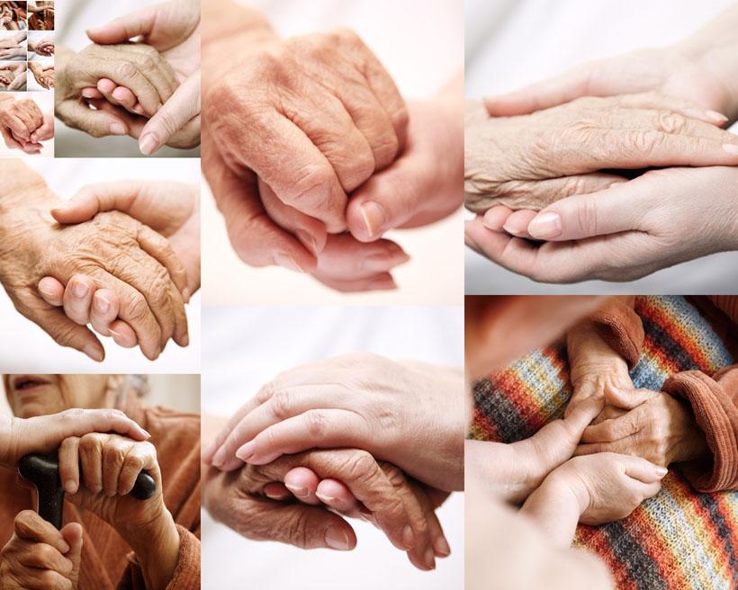 关爱老人握手摄影高清图片