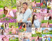 花草下的欧美人物摄影高清图片