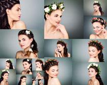 头戴花朵肌肤女子摄影高清图片