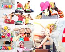 旅行包快乐一家人摄影高清图片