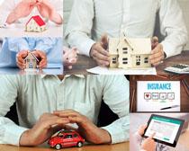 男人汽车房屋模型摄影高清图片