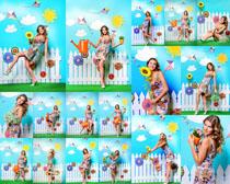 彩色装饰墙壁与美女摄影高清图片