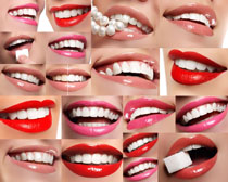 微笑嘴唇女子摄影高清图片