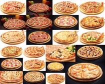 各式披萨展示拍摄高清图片
