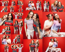 双胞胎女孩模特摄影高清图片