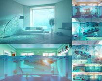 卧室里的水特效摄影高清图片