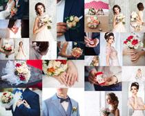婚礼人物与花朵拍摄高清图片