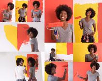 油漆与非洲女人摄影高清图片