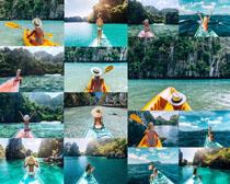 划船的比基尼女子摄影高清图片